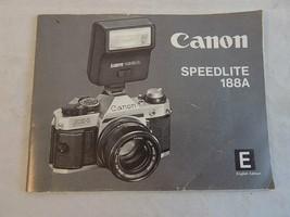 Canon Speedlite 188A Manual Original Camera Flash Instruction Book free ... - $7.91