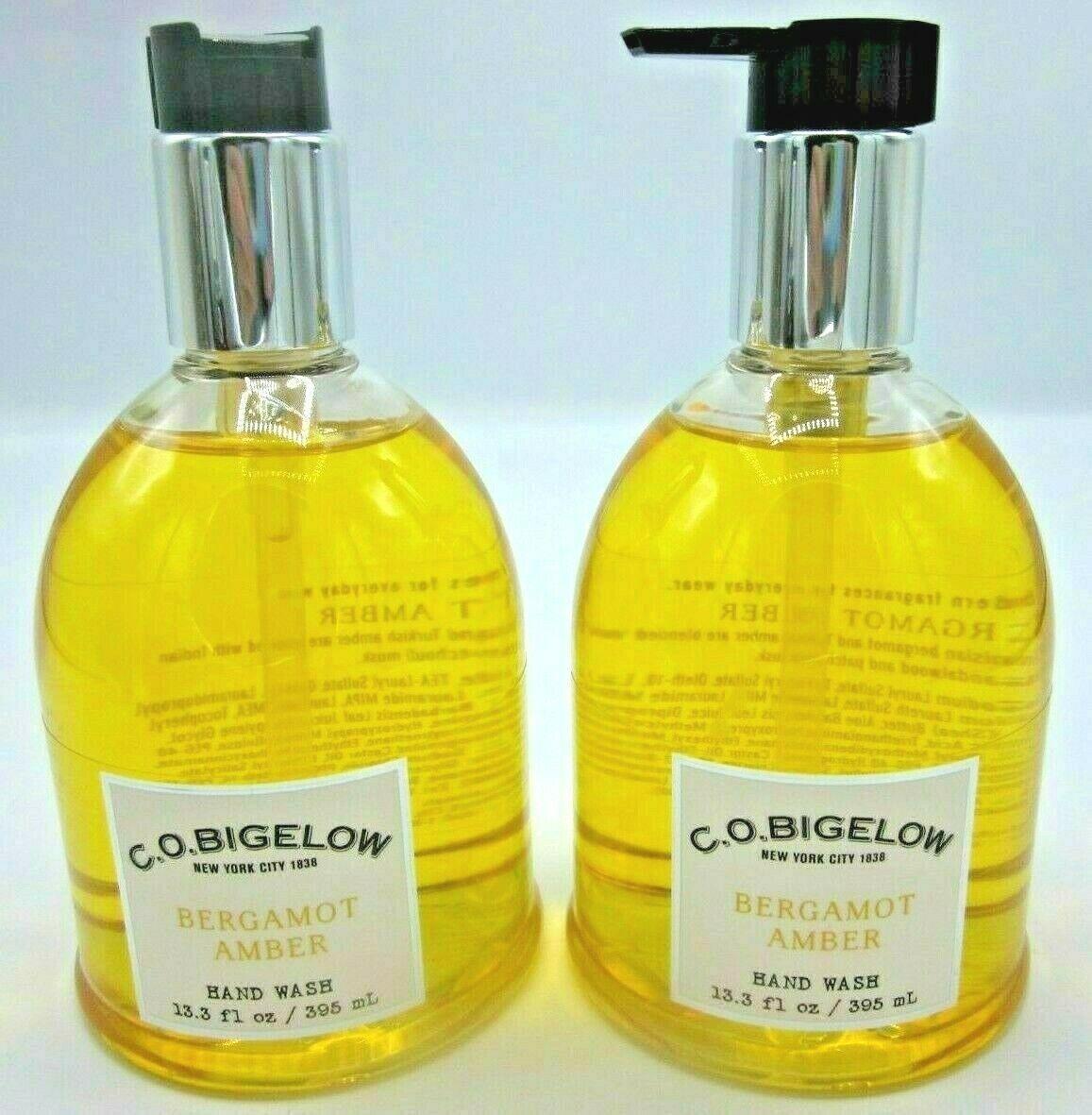 2 Bath & Body Works CO Bigelow Hand Wash Soap 13.3 oz patchouli  Bergamot Amber