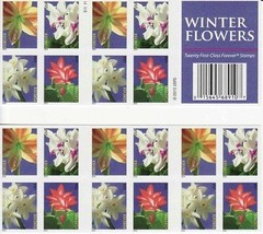 4865b, Winter Flowers Booklet of 20 Forever Stamps - Stuart Katz - $17.25