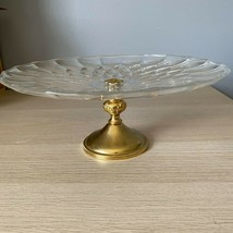 Val St Lambert Crystal/glass Footed Cake Platter W/pm Italy WA Gold Plat... - $109.99
