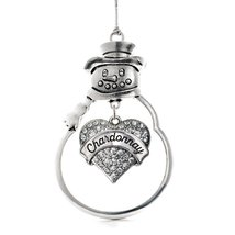 Inspired Silver Chardonnay Pave Heart Snowman Holiday Ornament - $14.69