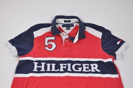 Men's Tommy Hilfiger Polo Red/White/Blue S Embroidered Big 5 Spellout Custom Fit - $17.82