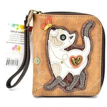 Chala Handbags Faux Leather Kitty Cat & Butterfly Zip Around Wristlet Wallet