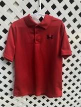 Under Armour Heat Gear Short Sleeve Red Polo Shirt Boys X-large - $9.49