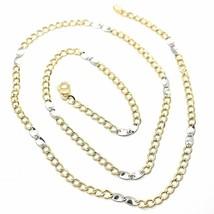 Chaîne or Jaune Blanc 750 18K, 50 cm, Groumette Plate et Ovales, 3 MM - $429.29