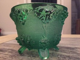 JEANETTE DEPRESSION GLASS FOOTED GREEN CANDY DISH - $22.75