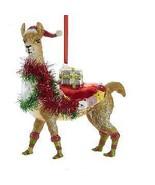 Glass Christmas Llama Ornament w - $17.99