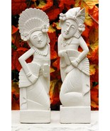 Set of 2, Hand Carved Limestone Dancer Sculpture Statue Home Decor Artwo... - $77.59