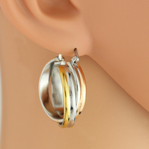 Twisted Tri-Color Silver, Gold and Rose Tone Hoop Earrings- United Elegance - $14.99