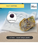 NEW Round Akoya Royal Bright Purple Pearl In Oysters Vacuum Packed 6-7mm... - $149.99