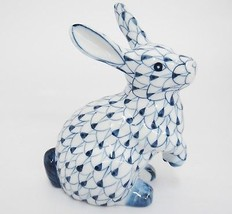 Blue Fishnet Bunny Rabbit Figurine Sitting on Haunches Andrea by Sadek 5... - $19.79