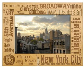 New York City Key Places Laser Engraved Wood Picture Frame (5 x 7) - $27.99
