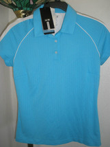 NWT Womens Adidas Golf Cosmic Blue/White Vertical Stripe Polo Sz Medium - $34.64