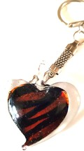 crystal heart with copper  colouring handmade in uk from uk made parts keyring,