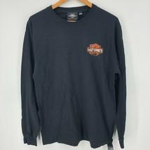 Harley Davidson Long Sleeve T-Shirt Men's L Black Double Sided Classic Logo - £10.79 GBP