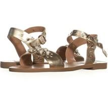Steve Madden Dancer Flat Sandals 915, Gold Leather, 8 US - $30.71