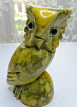 "VINTAGE CARVED YELLOW STONE MARBLE ALABASTER OWL SCULPTURE GLASS EYES 4""... - $30.00"