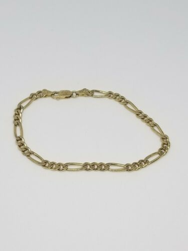 Primary image for Figaro Chain Bracelet .925 Sterling Silver Gold Vermeil 8 Grams