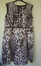 NWT SANDRA DARREN ANIMAL PRINT FLARE CAREER DRESS SIZE 20 W SIZE 22 W WO... - $29.53
