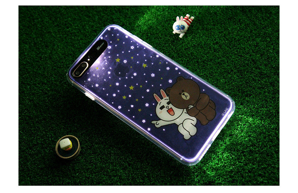 LINE Friends Premium Light UP Case iPhone 7 / 7 Plus Soft Cover Mobile Skin Acc