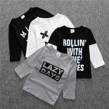 Baby boys clothes cotton letter sweatshirt smile tees kids baby clothing... - $8.88 CAD+