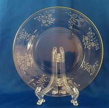 "Fostoria Rambler Gold Salad Plate 7.5"" Etch 323 Blank 2337 Clear Roses B - $8.17"