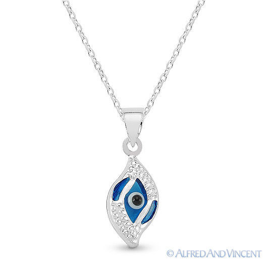 Evil Eye Glass Bead Greek Turkish Nazar Hamsa Pendant Sterling Silver Necklace image 5
