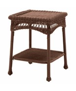 South Bay Traditional Brown Wicker Patio End Table Side Table Outdoor Fu... - $109.94