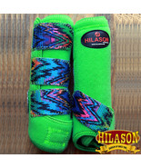 U-03-M Medium Hilason Zigzag Lime Horse Front Leg Ultimate Sports Boot Pair