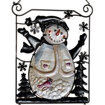 Metal & Glass Winter Holiday Snowman Seasonal Hanging Welcome Sign Decor image 6
