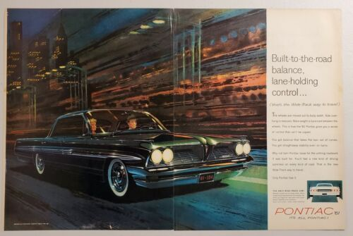 Primary image for 1960 Print Ad 1961 Pontiac Bonneville Four Door Hardtop Sedan Cars