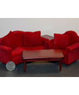 1 Set Living Room Red Modern Dollhouse Miniature Wood 1:12 scale - DL - $112.00