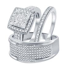 Men's & Women's 14k White Gold Fn 3/8 Ct Round Cut Diamond Trio Wedding Ring Set - $170.09