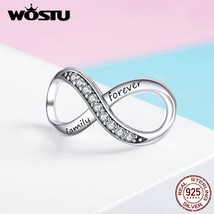 WOSTU Cross Design Infinity Love Charms 925 Sterling Silver Forever Family Bead  - $20.02