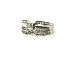 10k White Gold Engagement Ring with Guard Size 5.75 .33 ctw Diamonds - $329.00