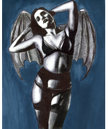 vampire bat woman original art drawing ink gothic fantasy art pinup girl... - $29.99