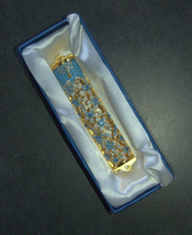 Judaica Mezuzah Case Gold Enamel Decorated Jeweled Aqua Crystals 8 cm Menorah image 7