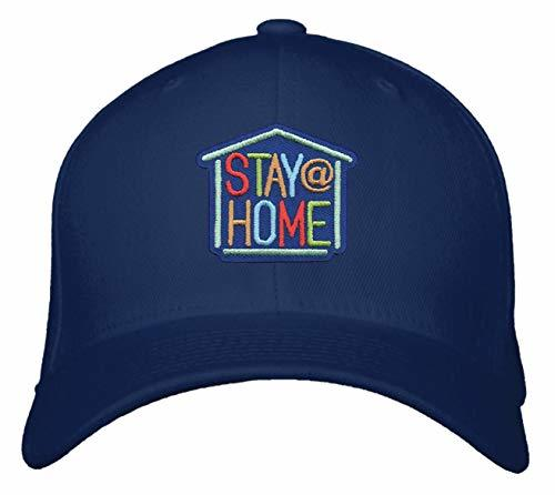Stay At Home Hat - Adjustable Navy Blue Cap Coronavirus Awareness