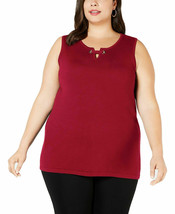 JM Collection Women's Plus Size Sleeveless Grommet Red Amore Top SIze 3X - $8.24