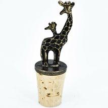 South African Cast Metal Antique Brass Finish Giraffes Wine Bottle Cork Stopper image 3
