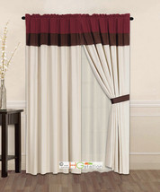 4-Pc Striped Solid Curtain Set Burgundy Brown Beige Valance Liner Drape ... - $30.74