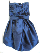 NWT Calvin Klein Metallic Sapphire Blue Strapless Sexy Bubble Hem Dress ... - $129.00