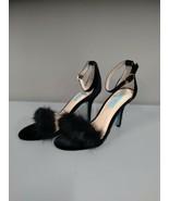 Betsey Johnson Womens Heels Sandals Size 7M Black Ankle Strap Faux Fur P... - $40.99