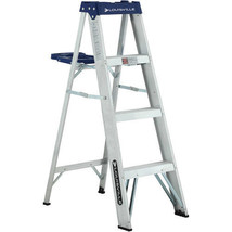 """4 Step Ladder Aluminum with Full 3"""" Deep Slip-resistant In-channel Steps... - $52.41"""