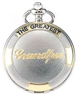 AMPM24 Silver Case Mens Pocket Watch, Silver Lid Cover Full Hunter Golden Rome - $32.91