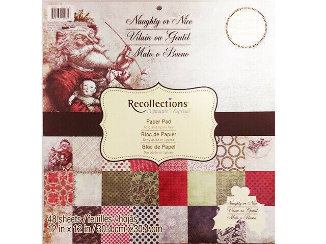 Recollections Naughty or Nice Cardstock Paper Pad 48 Sheets