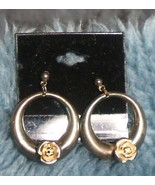 Gold Colored with Roses Post Earrings - $3.99
