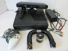 Xbox 360 Game Console 1439 With Kinect Steering Wheel Controller Power Supply - $74.25