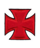 Motorcycle Jacket Embroidered Patch - Maltese Cross (Red, Black Trim) - ... - $6.99