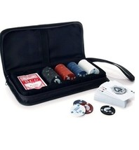 DELUXE POKER SET IN ZIPPERED NYLON CARRYING CASE BY AVON (NEW) - $14.95